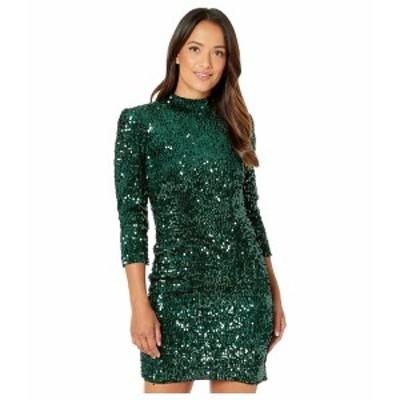 ドナモーガン レディース ワンピース トップス Stretch Velvet Sequin Long Sleeve Mock Neck Open Back Mini Dress Green