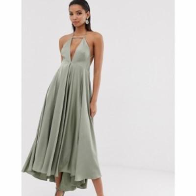 エイソス ASOS EDITION レディース ワンピース ワンピース・ドレス plunge cami midi dress with full skirt Sage