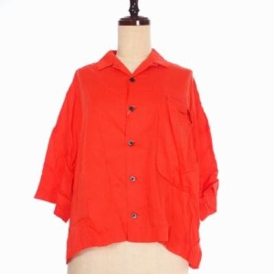 【中古】未使用品 ファセッタズム 17SS STREET TOUGH SHIRT ショート タフ シャツ 半袖 1 レッド 赤 レディース