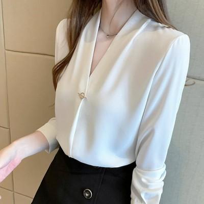 ブラウス レディース 長袖 きれいめ 40代 オシャレブラウス 白 vネックシャツ トップス シフォン 大人 通勤 ゆったり フォーマル 30代