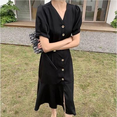 大きいサイズ L-4XL ファッション 人気ワンピース グリーン イエロー ブラック3色展開