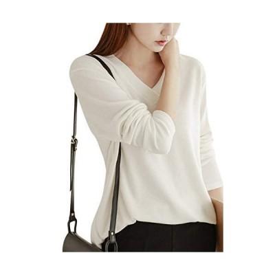ジルア ロング tシャツ カットソー シャツ トップス レディース ロンt Vネック セーター 風 長袖 ゆったり ゆとり ゆるい 体型カバ