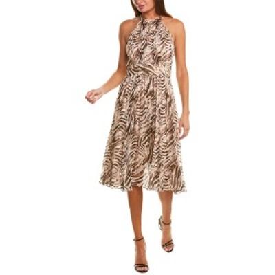 エリータハリ レディース ワンピース トップス Elie Tahari Dominica Silk-Blend A-Line Dress cocoon tiger
