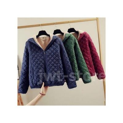 レディース 裏ボア キルティング 中綿 フードコート ショート丈 暖かい 厚手 ジップアップ 防寒 ジャケット 冬 アウター