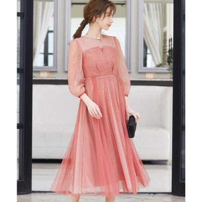 ニアナ niana ビスチェ風トップス ラメチュールワンピース 結婚式 ドレス (アプリコット) (レッド)