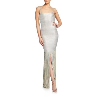 エルベレジェ レディース ワンピース トップス Square-Neck Strappy Foiled Fringe Gown