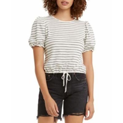 リーバイス レディース シャツ トップス Women's Puff-Sleeve T-Shirt Galine Stripe Cloud Dancer