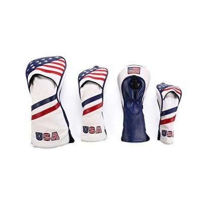 高級pu革 ドライバー/ウッド FW 2点/ユーティリティ UT用 ヘッドカバー 4点セット 米国旗柄 USA Flag 変換ダグ付き