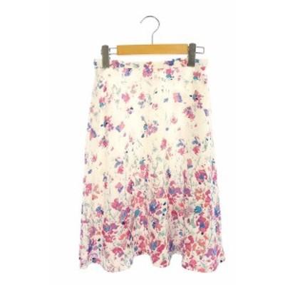 【中古】エリザ ELISA フレアスカート フラワープリント 花柄 膝丈 2 白 ピンク /AO ■OS レディース
