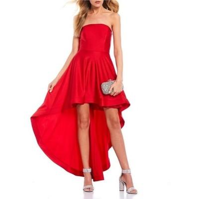 シティヴァイブ レディース ワンピース トップス Strapless Satin Long High-Low Dress