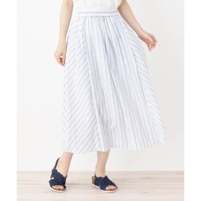 スカート バイヤス切り替えストライプスカート
