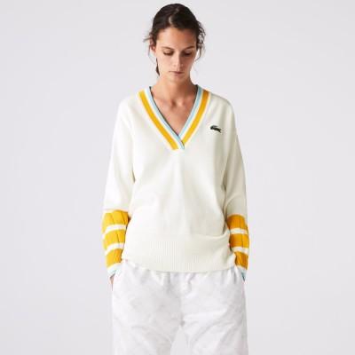 ラコステ LACOSTE Vネックカラーデザインセーター (ホワイト)