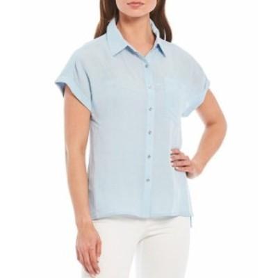 カルバンクライン レディース シャツ トップス Short Cuffed Sleeve Side Slit Button Down Hi-Low Shirt Cashmere Blue