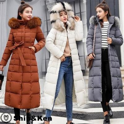 中綿ダウンジャケット レディース 中綿ダウンコート ロング丈 冬用 大きいサイズ 配色ファー付フード 中綿ダウンコート