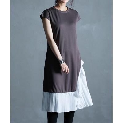 裾プリーツ切り替えロング丈ワンピース (ワンピース)Dress