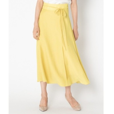 スカート スパンボイルワッシャー ラップデザインスカート