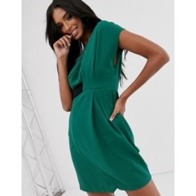 エイソス レディース ワンピース トップス ASOS DESIGN origami mini dress with tab side Green
