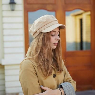 レディースベレー帽ハットキャスケットマリンキャップ秋冬オリジナルハット帽子黒ベージュオシャレハット