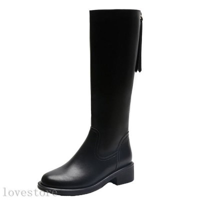 ロングブーツ レディース ジョッキーブーツ 春冬 高筒靴 フリンジ 膝下 フラット 乗馬靴 レザー 大きいサイズ 防滑 脚長効果 レザー