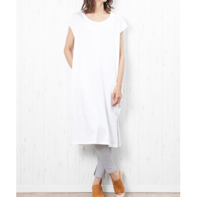 (mili an deni/ミリアンデニ)レディース ワンピース ノースリーブ Tシャツ ワンピース ロング丈/レディース オフホワイト