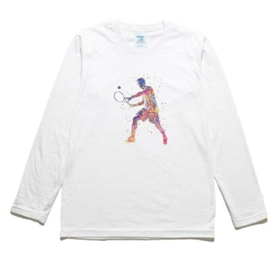 テニスプレーヤー デザイン・アート 長袖Tシャツ ロングスリーブ