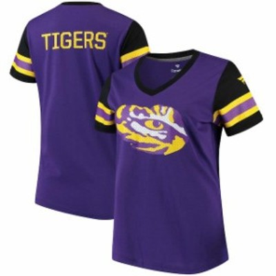 Fanatics Branded ファナティクス ブランド スポーツ用品  Fanatics Branded LSU Tigers Womens Purple Iconic Mesh Sleeve Jersey T-Shi