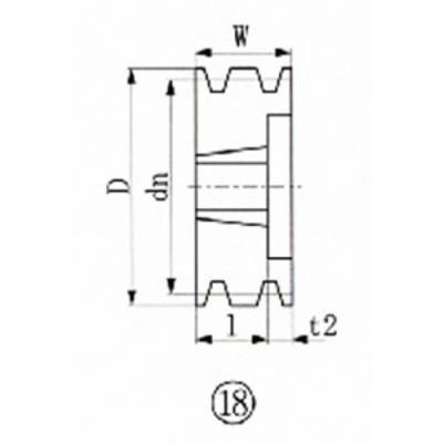 EVN ブッシングプーリー SPA 125mm 溝数3【SPA125-3】(駆動機器・ベアリング・プーリー)