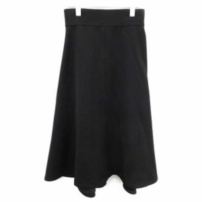 【中古】マディソンブルー MADISONBLUE 18AW バックフレアミモレスカート ロング ウール 裏地シルク 絹 1 S 黒