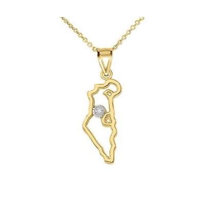 Claddagh Gold 磨かれたゴールド ユダヤのチャーム ダイヤモンド アウトライン イスラエルの地図 ペンダントネック