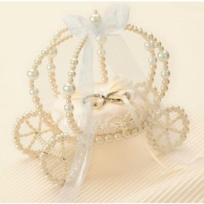 ビーズで作るかぼちゃの馬車のリングピロー(シャンパンゴールド)手作りキット ウェディング 結婚式 花嫁DIY
