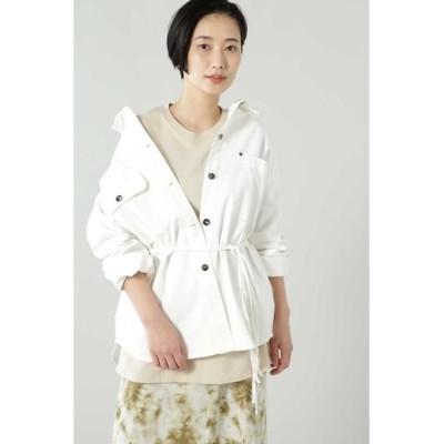 ROSE BUD/ローズ バッド ウエストベルト付シャツジャケット ホワイト -
