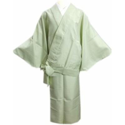 簡単洗える袷二部式着物江戸小紋薄黄緑色地万筋M・L 普段着&ユニフォームに 女性用