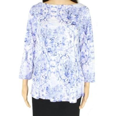 レディース 衣類 トップス Womens Top White Plus Knit Boat-Neck Floral 1X ブラウス&シャツ