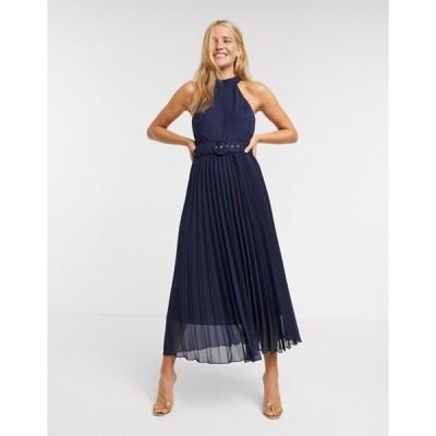 スタイルチート レディース ワンピース トップス Style Cheat pleated midi dress in blue