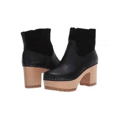Swedish Hasbeens スウェディッシュハズビーンズ レディース 女性用 シューズ 靴 ブーツ アンクル ショートブーツ Shearling Plateau - Black