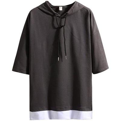 Tシャツ メンズ 半袖 無地 七分袖 パーカー おしゃれ 大きいサイズ カットソートップス フード付き インナー 春 秋 ゆ(s2103100865)