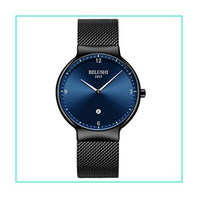 【新品】Men's Ultra-Thin Watch, Quartz Watch,Blue/Black Face Black Mesh Band Black(6mm-62g)(並行輸入品)
