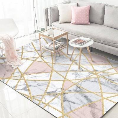 ソフトラグマット 大理石 幾何学的 ホワイト カーペット リビングルーム 寝室 40X60cm