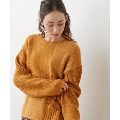 セーター ニット 大きいサイズ レディース ブロック 切替 プルオーバー 冬 キャメル/ネイビー LL/3L ニッセン