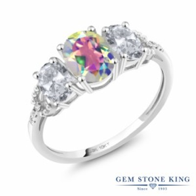 指輪 リング レディース 2.22カラット 天然石 ミスティックトパーズ (マーキュリーミスト) 天然 トパーズ (無色透明) ダイヤモンド 10金