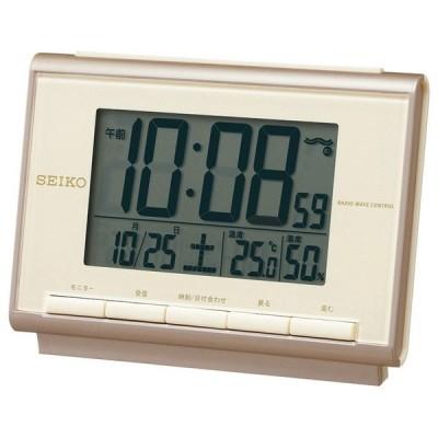 セイコー 電波目覚まし時計 SQ698C 温度・湿度表示機能付 薄ピンクゴールド