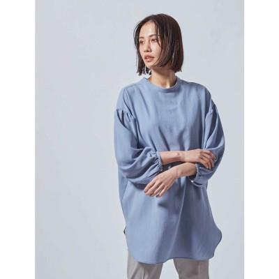 ロートレアモン LAUTREAMONT シアー素材の袖ボリューム前後2WAYブラウス (ブルー)