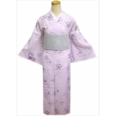 洗える絽(夏物)着物と紗半巾帯(細帯)セット淡ピンク地ゆりM・L