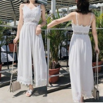 パーティードレス レディース パンツドレス オールインワン ロングドレス 結婚式 ドレス レース ノースリーブ ワイドパンツ