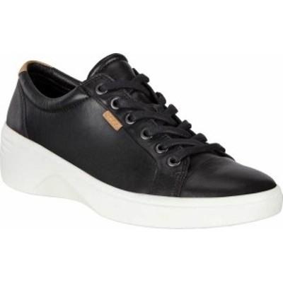 エコー レディース スニーカー シューズ Soft 7 Cap Toe Wedge Sneaker Black Full Grain Leather