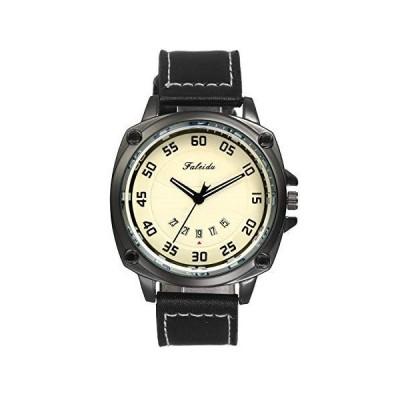 JEWELRYWE 腕時計 メンズ アンティーク風 防水 アナログ カレンダー レザーベルト おしゃれ 人気 フ?