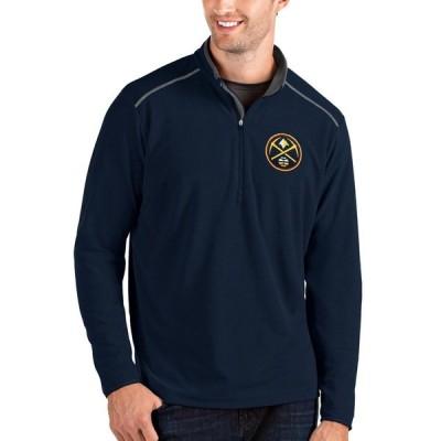 アンティグア パーカー・スウェットシャツ アウター メンズ Denver Nuggets Antigua Big & Tall Glacier QuarterZip Pullover Jacket Navy/Gray