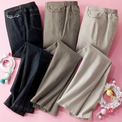 ベルーナ 【3本組】ポケット刺しゅうのやわらか素材パンツ 股下70cm L レディース