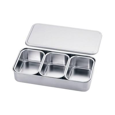 厨房用品 保存容器 / 18-8プレス 大型ヤクミ入 3ヶ入  寸法: 幅:385 x 奥行:200 x H72mm