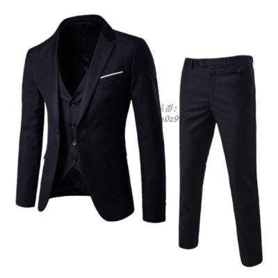 6色 3点セット ビジネス 無地 韓国風 メンズスーツ 春秋冬 パンツ ベスト 20代30代40代 長袖 フォーマル 大きいサイズ スリム 通勤 OL 結婚式 ジャケット